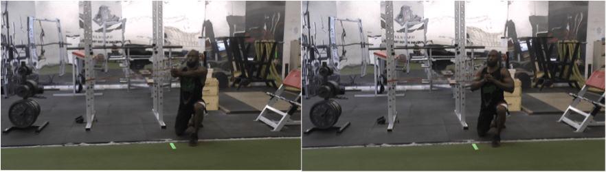 one knee half kneeling p-press