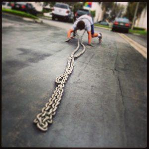 crawl reverse dragging chain